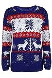 Damen Strickpullover - Weihnachtlicher Pullover mit Weihnachtsmotiven: Schneeflocken, Rentiere, usw. - Königsblau Rentiere Weihnachtsbaum, M/L (40/42)