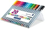 Staedtler 0.3 mm 334 Triplus Fineliner Superfine Point Pens - Assorted Colours, Pack of 20