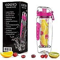 Opard Trinkflasche 1 Liter Fruit Infuser Sports Trinkflasche Water Bottle Tritan BPA-frei Kunststoff Flasche mit Rezept und Pinsel