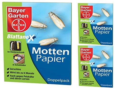3x 2(6pezzi) Bayer fogli di carta Anex Motte antitarme per tessuti vestiti ecc. - Animali Gettate
