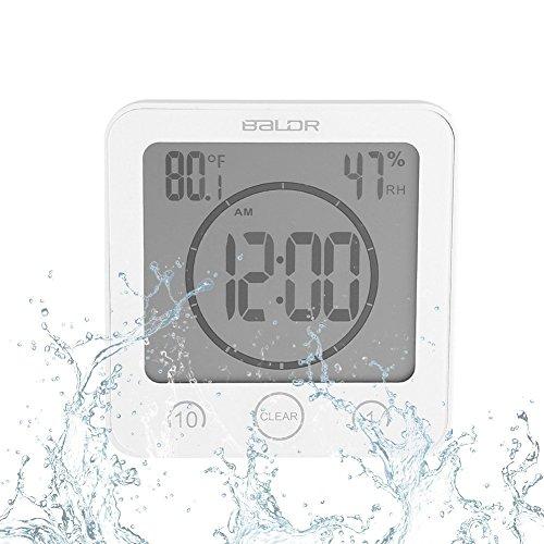 Badezimmeruhr Wasserdichte Dusche Uhr Timer Saugnapf Digital LCD Display Thermometer Hygrometer Silent Wanduhr Timer Küche - Uhr Dusche Lcd