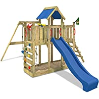 WICKEY Parco giochi TwinFlyer Casetta giochi da giardino per bambini, blu