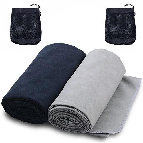 The Friendly Swede 2x Mikrofaserhandtuch inklusive 2x praktischer Trage-Netzsack - ideal als...