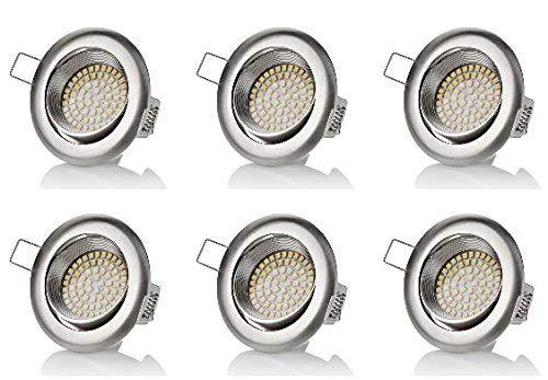 Sweet Led 6 x Spot LED plates, 230 V, 3,5 W, orientable, rond, chrome brossé, 320 lumens, blanc chaud