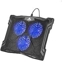 OUTAD Refroidisseur Réglable Support Portable PC - 3 Ventilateurs à LED bleu - Support Ventilé pour ordinateur portable Gaming 12-17 pouces (Bleu)