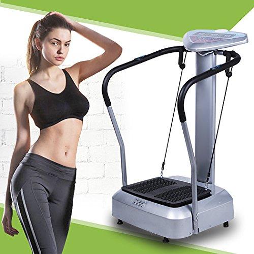 Qulista Profi Vibrationsplatte 1000 W, 99 Geschwindigkeitsstufen, mit LED-Display und 3 Trainingsprogrammen, Vibration Trainings-Gerät Vibrationstrainer für Bauch Beine