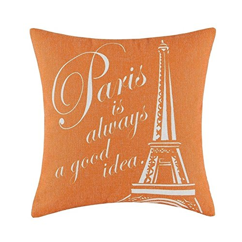 Unbekannt B Lyster Shop Eiffelturm orange wwj119Baumwolle & Polyester Soft Reißverschluss Kissen Werfen Fall Kissen Schutzhülle (Chevron-kissen Werfen Orange)
