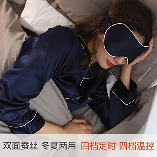 T-YZAG 2 Stück Silk Augenmaske usb Dampf heißen Schlaf Augenmaske atmungsaktive Reise-Augenmaske, Seidenaugenmaske Licht Luxus - tiefblau