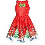 Girls Dress Red Christmas Reindeer Snow Xmas Tree Party Age 8 Years