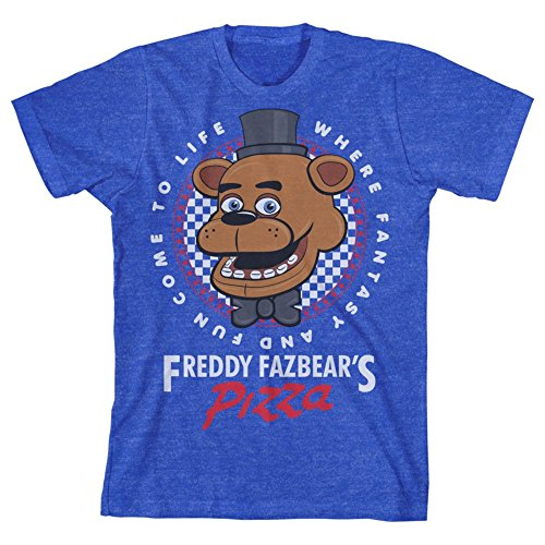 "Five Nights at Freddy's ""Pizza"" Boy's Blue T-Shirt: Medium"