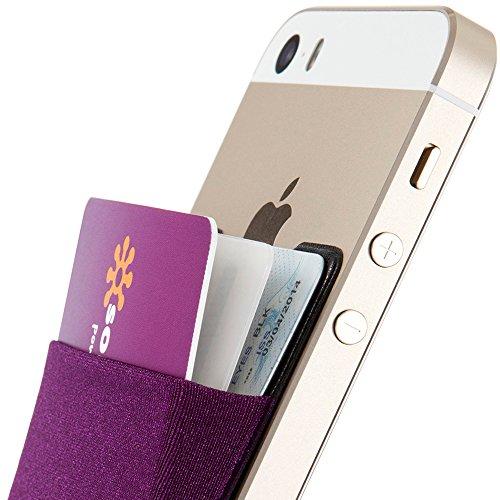 Sinjimoru B3 Smart Wallet (aufklebbarer Kartenhalter), verwendbar als iPhone Wallet / Handy Geldbeutel / Kartenetui für iPhones, iPhone Cases, Android Smartphones. Sinji Pouch Basic 3, Schwarz. Violett