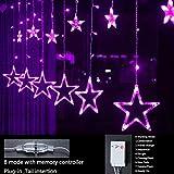 GLXQIJ LED-Fenster Stern-Streifen Eiszapfen Fee Vorhang Lichter, 138 LEDs, 8-Flash-Speicher-Modi, Mit Stecker, Indoor Outdoor-Party-Bar Hochzeit Schlafzimmer-Dekoration,Lila,3.5 * 0.8M
