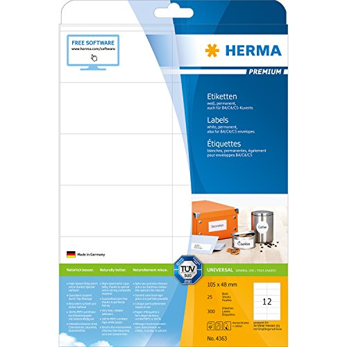 Herma 4363_ A4, 105 x 48 mm - Pack de 300 etiquetas, A4, 105 x 48 mm, color blanco