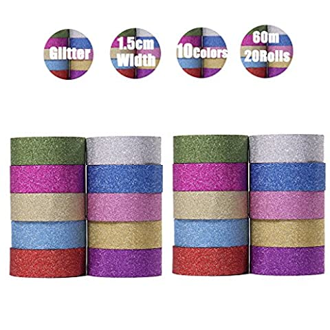 Washi Tape Decorative Tape Glitter Washi Tape 20 pcs Diy Tape Washi Masking Tape Collection Tape for Crafts,DIY,Gift wrapping,Party,Wedding,Office Supplies - DoGeek