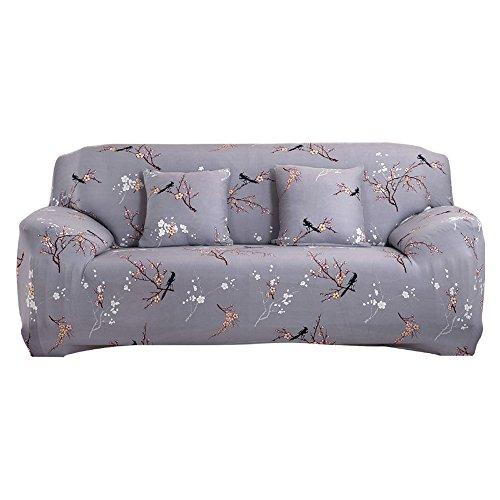 Copridivano in tessuto elasticizzato, per divano da 1-2-3-4 posti, grey pattern, 3 posti