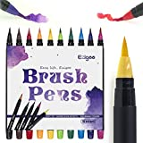 Set Pennarelli Brush Pen Punta Pennello - Set di 10 pennarelli a colori - con morbido flessibile Real Brush Tip creare effetto acquerello - Ezigoo