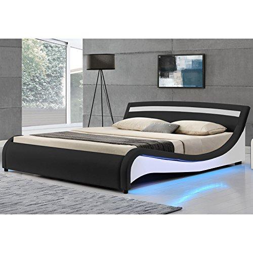 Polsterbett Malaga 180 x 200 cm mit LED Seitenteilen - schwarz | ArtLife