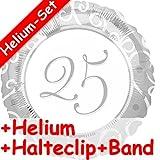 Folienballon Set * 25 JAHRE SILBER + HELIUM FÜLLUNG + HALTE CLIP + BAND * // Aufgeblasen mit Ballongas // Deko Geburtstag Folien Ballon Luftballon fünfundzwanzig silberne Hochzeit Jubiläum