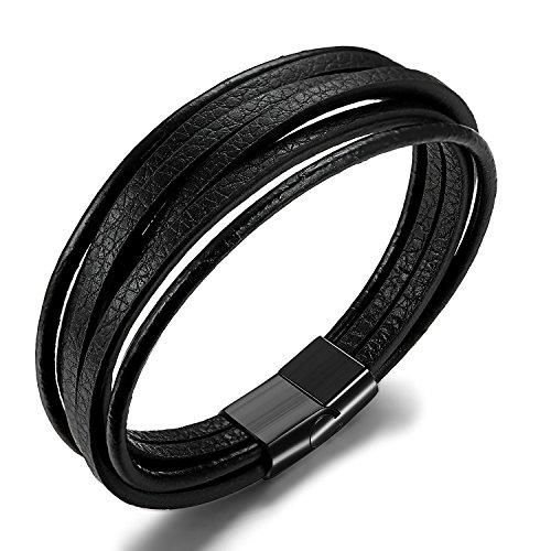 BE STEEL Schmuck Geflochtene Leder Armbänder für Herren und Jungen Wickel Handgefertigt Armband mit Magnetverschluss aus Edelstahl 20.5cm Schwarz