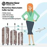 MasterGear Valise Bagage à main/Cabine design mobiles et ultra légères - 4 roulettes (360 °) - Coque rigide ABS - Cadenas à combinaison + TSA - Tailles S - Marron