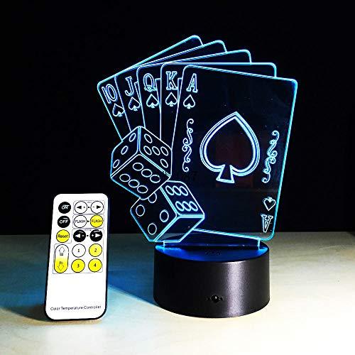 Texas Dekor (3d led usb lampe magier dekoration texas hold em dice poker spades spielkarte 7 farben wechselnden nachtlicht geschenk usb wiederaufladbare lesung schlafen nacht feeds präsentieren dekor für bar club)