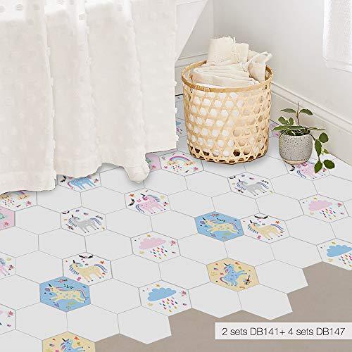 10 Stück Stickerfliesen 23x20x11.5 cm Fliesenaufkleber Hexagon Fliesenfolie Mosaikfliesen...