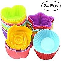 BESTONZON 24 pcs Silicona Muffin Copas de Horno silic Cupcake Liners Non-Stick Cake Molde