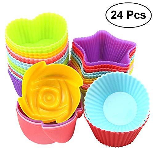 BESTONZON 24pcs muffin del silicone che cuociono le tettarelle del bigné del silicone muffe antiaderanti della torta stampi impilabili del sapone