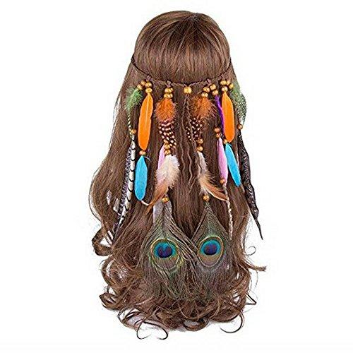MIGUOR Kopfschmuck Feder Schal Dame Pfau Feder Kopfschmuck Perle geflochtene Haare fancy Kopfschmuck Geschenk