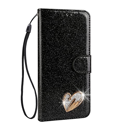 Galaxy S9 Plus Case [Free Tempered Glass Screen Protector],Mo-Somnus Luxury Bling Glitter Sparkly [Loving Heart Diamond] Design Wallet Case [Stand Function] Cover for Samsung Galaxy S9 Plus (Black)