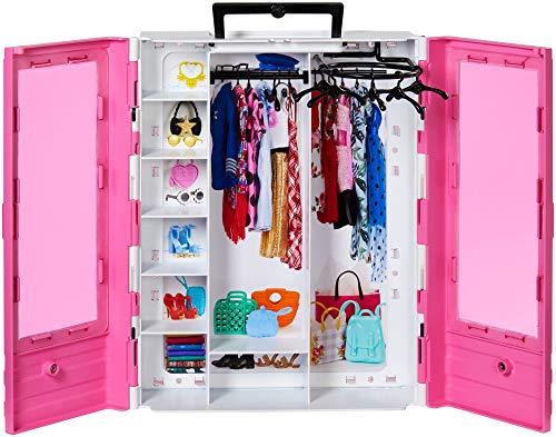 Barbie GBK11 - Tragbarer Traum Kleiderschrank mit Kleiderbügel, Puppenzubehör und Puppen Spielzeug -