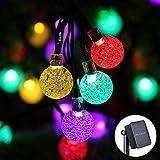 Qedertek Solar Lichterkette Außen 6M 30 LED Kugel Weihnachtsbeleuchtung Bunt 8 Modi Weihnachtsbaum...