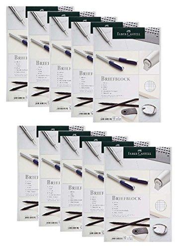 Faber-Castell 214060-10 Briefblock DIN A4, FSC-Mix, kariert, 50 Blatt, 10 Blöcke