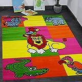 VIMODA Kinderteppich Spielteppich Kinderzimmer Zoo Kinder Teppich Löwe Krokodil in Bunte Farben 160x230 cm