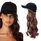 Estensioni Parrucche dei capelli sintetiche da 22 pollici con cappello da baseball per donna, cappuccio nero regolabile con capelli ondulati lunghi castani (30#)
