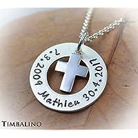 Silberanhänger handgefertigt mit Kreuz und Gravur