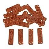 IPOTCH 20x Handmade Labels Etiketten Tags 50x15mm PU Leder Annäher Labels Hand Nähen Knopf DIY Basteln für Kleidung Tasche Näharbeit Deko - 1