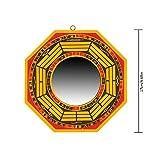 Luerme BAGUA Miroir avec cadre en bois FENGSHUI Miroir Diamètre 17cm/17cm pour une protection contre les Passif énergies négatives et Active dangereuses d'énergie...