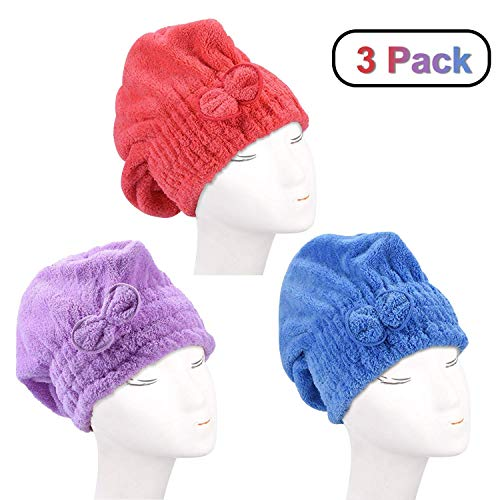 3 Pack Haar Handtuch Wrap (Lila,Rot,Blau), Wrap Turban, Haarturban, Kopfhandtuch Baumwolle, Mikrofaser-Haartuch, schnell Magic Trockner, Super saugfähig, super nach Bad und Dusche (Haar Trockner Haube)