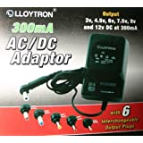 LLOYTRON 300mA 6 IN 1 UNIVERSAL AC / DC MAINS POWER ADAPTOR MULTI VOLTAGE 3V / 4.5V / 6V / 7.5 V / 9 V / 12V FOR RADIOS, PERSONAL STEREOS, CASSETTE PLAYERS, TOYS, PERSONAL GAMING DEVICES - GIZMO MILL