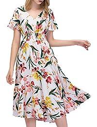 7f72b24116d3 GardenWed Damen Übergröße Strandkleid Blumen Boho Lang V-Ausschnitt  Abendkleid Partykleid