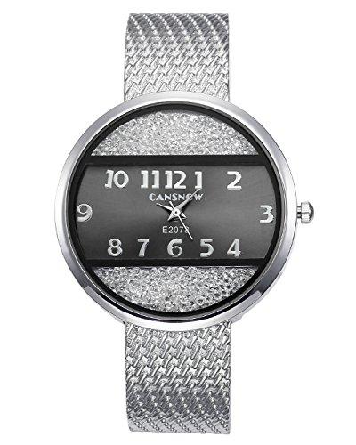 JSDDE Uhren Chic Damenuhr Armbanduhr Manschette Strass Spangenuhr Metall Band Armreif Uhren Analoge Quarzuhr Kleideruhr für Frauen Damen (Silber-Schwarz Dial)