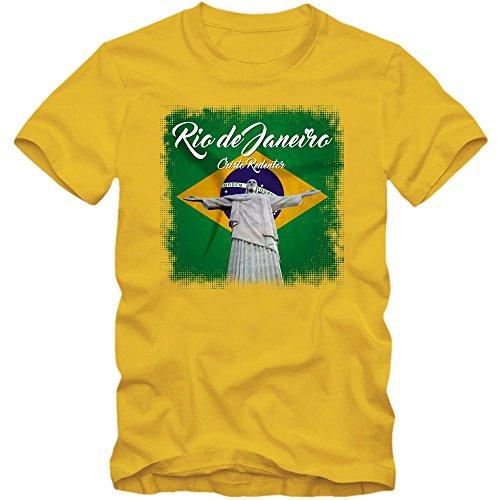 Rio Christo Redentor T-Shirt | Brasilien | Herren | Copacabana | Fußball, Farbe:Gelb (Gold L190);Größe:M