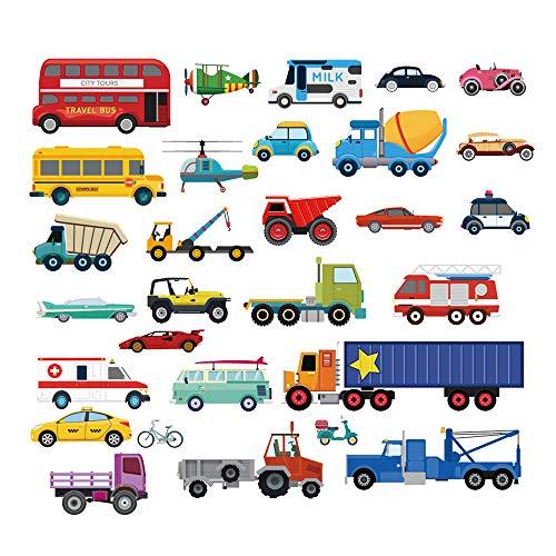 decalmile Transportes Pegatinas de Pared Vinilos Decorativos Habitación Infantiles Guardería Niños Bebés Dormitorios
