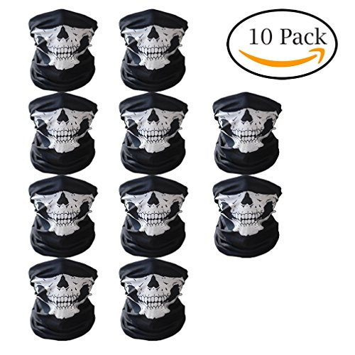 Abseed 10 Stücke Packung Multifunktionstuch Schädel Gesicht Schlauch Maske Motorrad Totenkopf Sturmmaske für Halloween /Fahrrad / Ski/ Wandern.etc. (10er Schwarz)