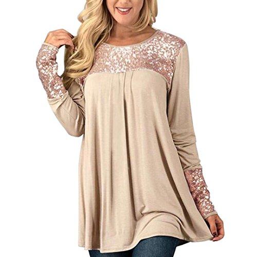 Bekleidung AMUSTER Damen Tops Mode Frauen Pailletten Tops Langarm O-Ausschnitt Lässige Pullover Shirt Bluse Damen Tuniken Langarm Sweatshirt Freizeit Bluse (L, Beige)