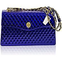 Valentino Orlandi Diseñador Italiano La Bolsa De Azul De Cobalto De Chanel Bolso De Cuero De