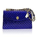 Valentino Orlandi Diseñador Italiano La Bolsa De Azul De Cobalto De Chanel Bolso De Cuero De La Cadena