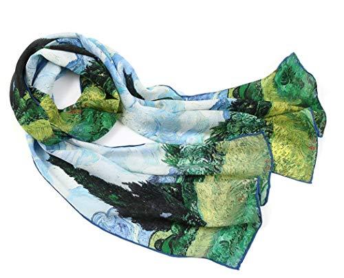 prettystern langer Damen Seiden-Schal Malerei Kunst-drucke Art Silk Scarf Van Gogh - Weizenfeld mit Zypressen P943 (Damen Seide Schals)