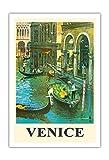 Pacifica Island Art Venedig, Italien - Venezianische Kanäle - Gondeln - Vintage Retro Welt Reise Plakat von Louis Macouillard c.1950s - Kunstdruck - 76cm x 112cm